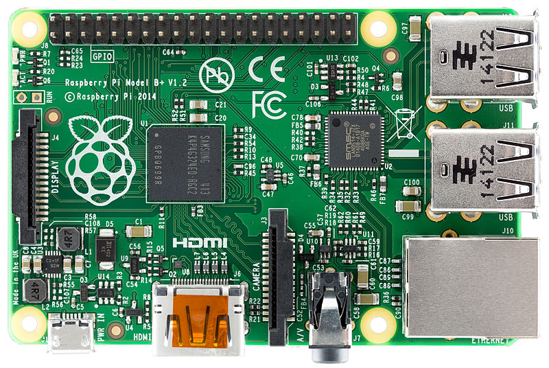 A picture of the previous Raspberry Pi B+ model, showing the company's characteristic logo. Photo: Lucas Bosch.