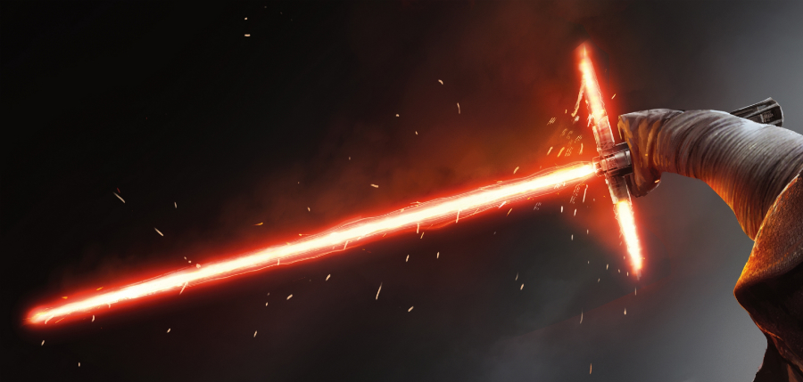 Kylo Ren's crossed lightsaber from The Force Awakens. Photo: Star Wars Wikia.