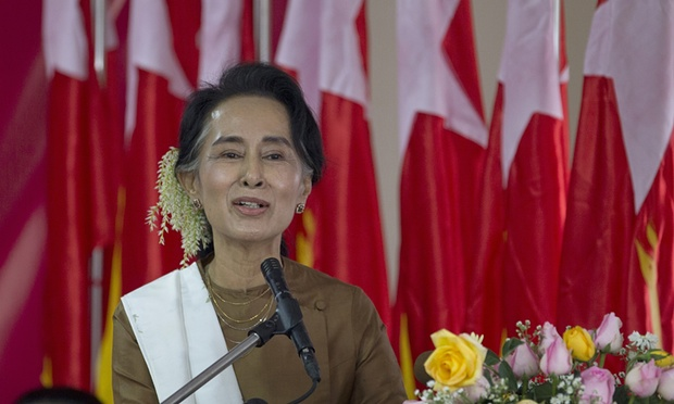 Aung San Suu Kyi makes her first major public address since her party, the National League for Democracy, won Myanmar's elections on 8 November. Credit: The Guardian/Gemunu Amarasinghe/AP