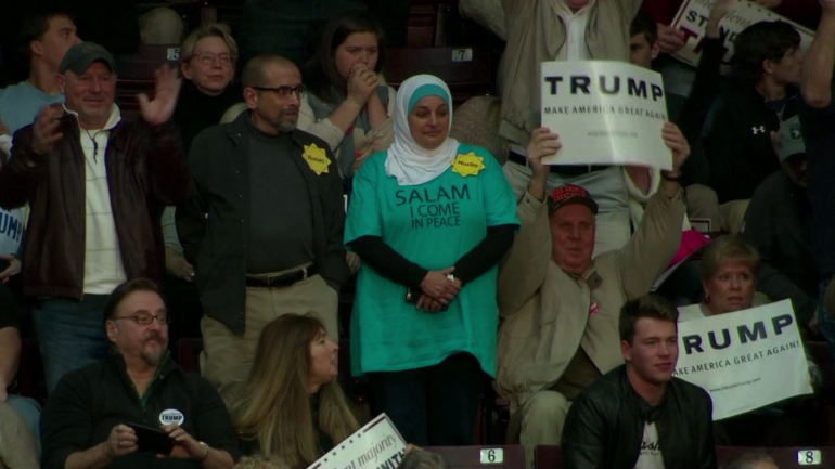 Rose Hamid's silent protest at the rally. Photo: KTLA News