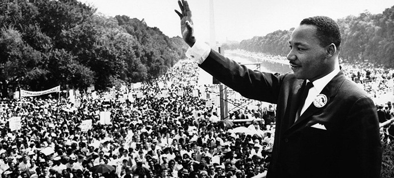 "Martin Luther King Jr. addresses a crowd from the steps of the Lincoln Memorial where he delivered his famous, ""I Have a Dream,"" speech during the Aug. 28, 1963, march on Washington, D.C. Credit: San Jose Inside/Wikipedia Commons"
