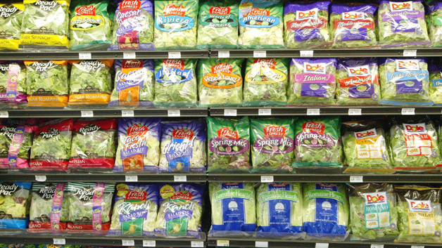 A supermarket shelve filled with Dole's packaged salad, the possible cause of the latest listeria outbreak. Photo: Boston CBS News