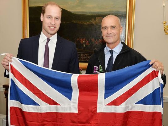 At right, Britain's Prince William with Henry Worsley last year. Photo: John Stillwell/PA via AP)