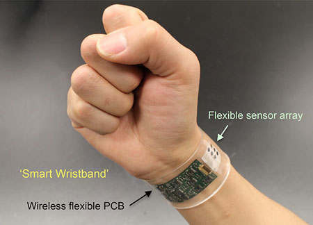 "The new sensor developed at UC Berkeley can be made into ""smart"" wristbands or headbands that provide continuous, real-time analysis of the chemicals in sweat. Credit: UC Berkeley(Wei Gao"