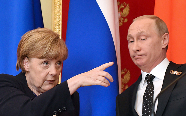 Angela Merkel with Vladimir Putin in the Kremlin in Moscow, in May 2015. Credit: Telegraph UK/Kirill Kudryavtsev/AP