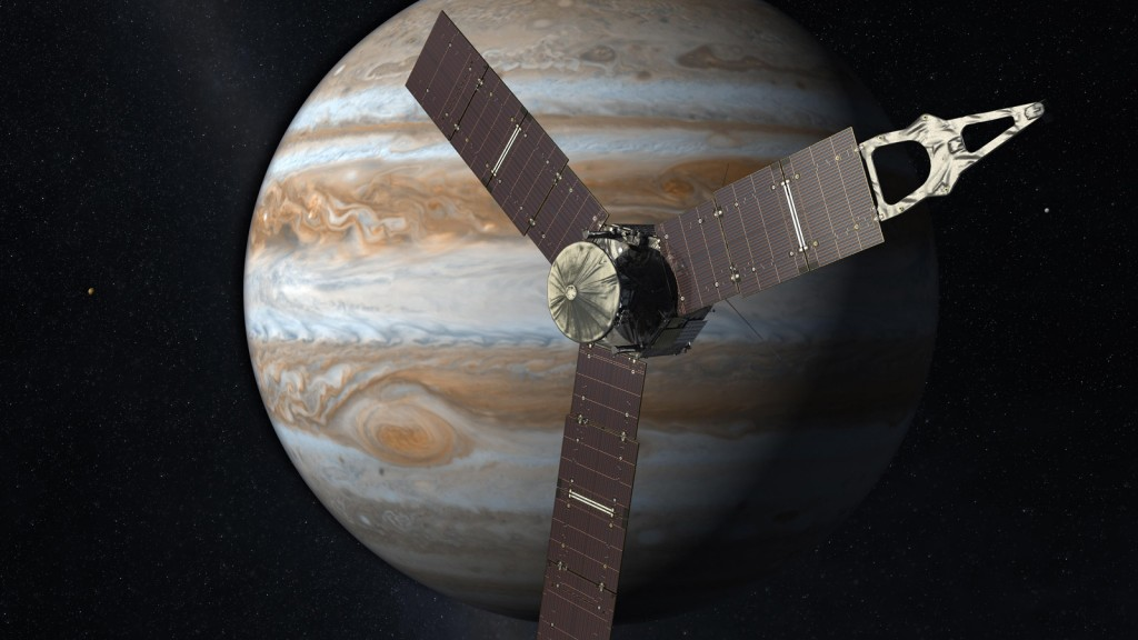Launching from Earth in 2011, the Juno spacecraft will arrive at Jupiter in 2016 to study the giant planet from an elliptical, polar orbit. Credit: NASA/JPL-Caltech
