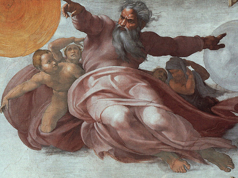 Fresco in the Sistine Chapel. The Creation of the Sun and the Moon, by Michelangelo.