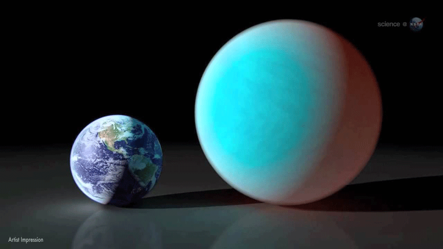 55 Cancri e doubles the size of Earth and has eight times its mass. Photo credit: Science at Nasa