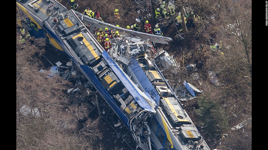 A deadly train crash in southern Germany killed 11 and left more than 80 people injured. Photo Credit: Peter Kneffle / CNN