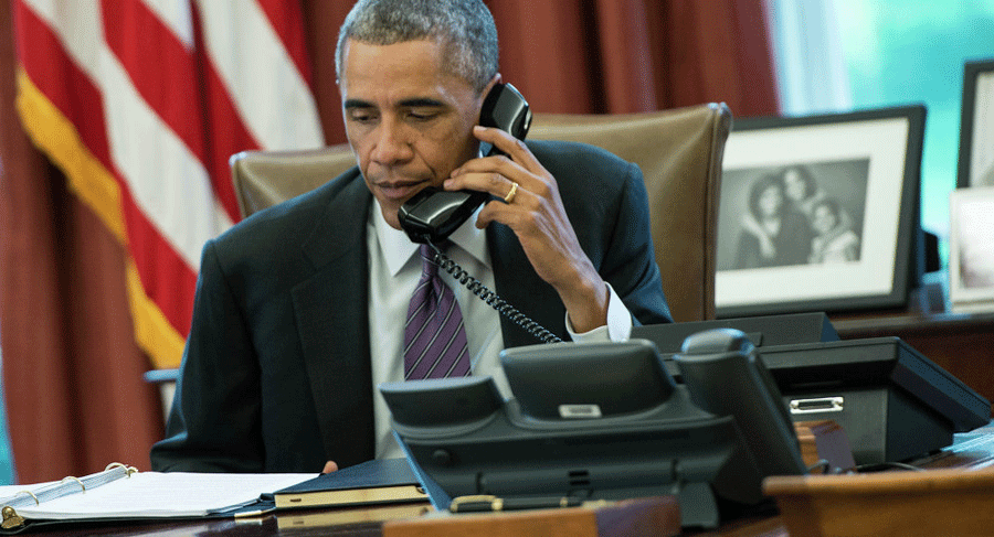 Earlier on Monday U.S. President Barack Obama and Russian President Vladimir Putin spoke by phone about the new cessation of hostilities for Syria. Photo credit: Brendan Smialowski / Sputnik
