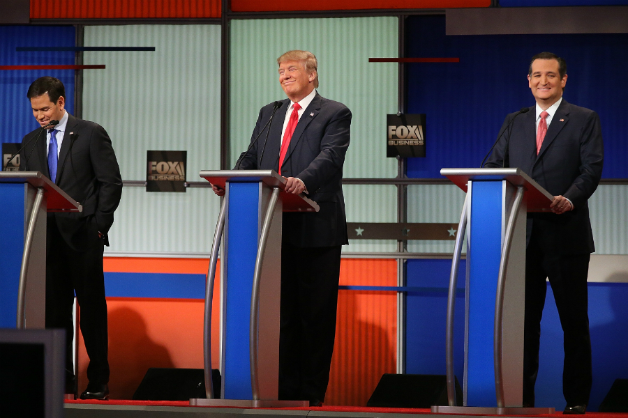 From left to right: Marco Rubio, Donald Trump, and Ted Cruz. Photo: The Blaze/GETTY