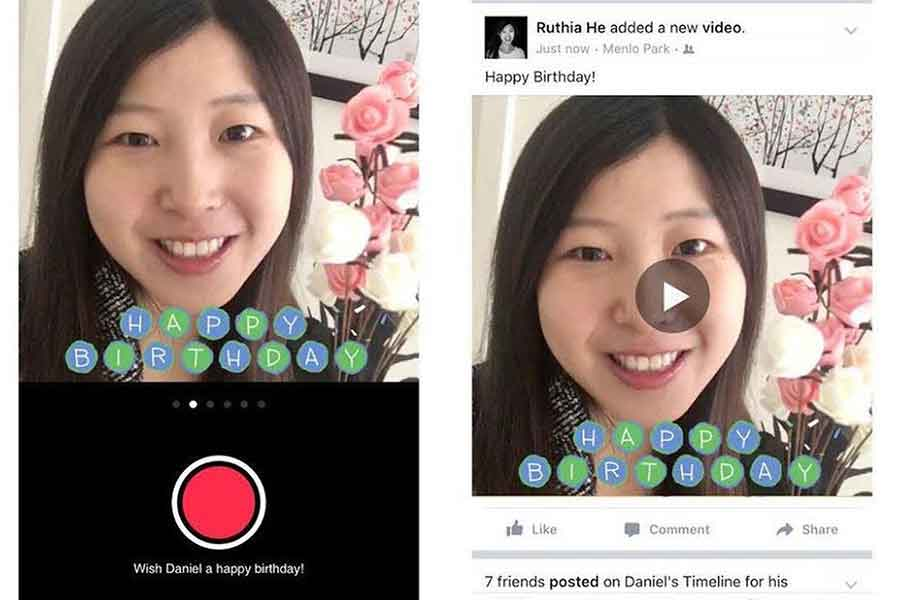 "Facebook introduced Monday a new feature for its iOS app that allows users to make 15-second videos with a ""birthday video camera"". Photo Credit: The Verge"