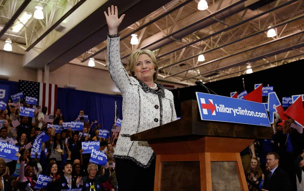 Hillary Clinton waves to supporters at the end of her victory speech at a primary night party in Columbia, South Carolina, on February 27. Credit: The Nation/Reuters/Jonathan Ernst