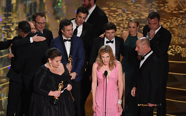The Spotlight crew receiving the most important Oscar of the night. Photo: GETTY IMAGES