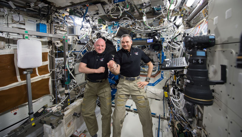 Commander Scott Kelly and cosmonaut Mikhail Kornienko marked their 300th consecutive day in space on January 21st, 2016. Credit: Gizmodo via NASA