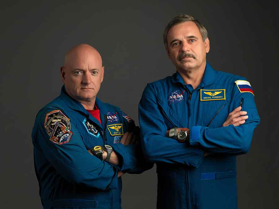 Astronaut Scott Kelly (left) and cosmonaut Mikhail Kornienko (right) are set to come home Tuesday night after 340 days on the International Space Station. Photo credit: NASA