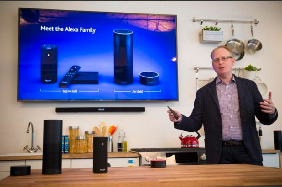 David Limp, Amazon's devices executive, shows off the expanded line of Alexa products. Credit: James Martin/CNET