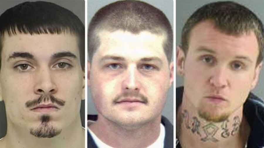The three white supremacist men arrested last week for allegedly attacking Hispanic men and women in a public park. Photo credit: Fox News