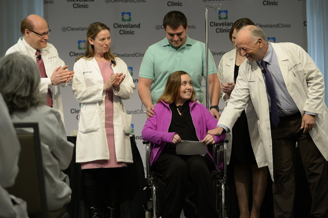 Lindsey, 26, of Texas, with her husband and doctors at a news conference on Monday, underwent the procedure at the Cleveland Clinic. Credit: The New York Times/Dustin Franz