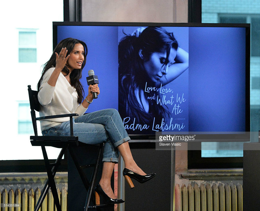 "Padma Lakshmi, the cookbook author and Top Chef Judge, presented her new book ""Love, Loss, and What We Ate"" on Tuesday. Photo credit: Getty Images"
