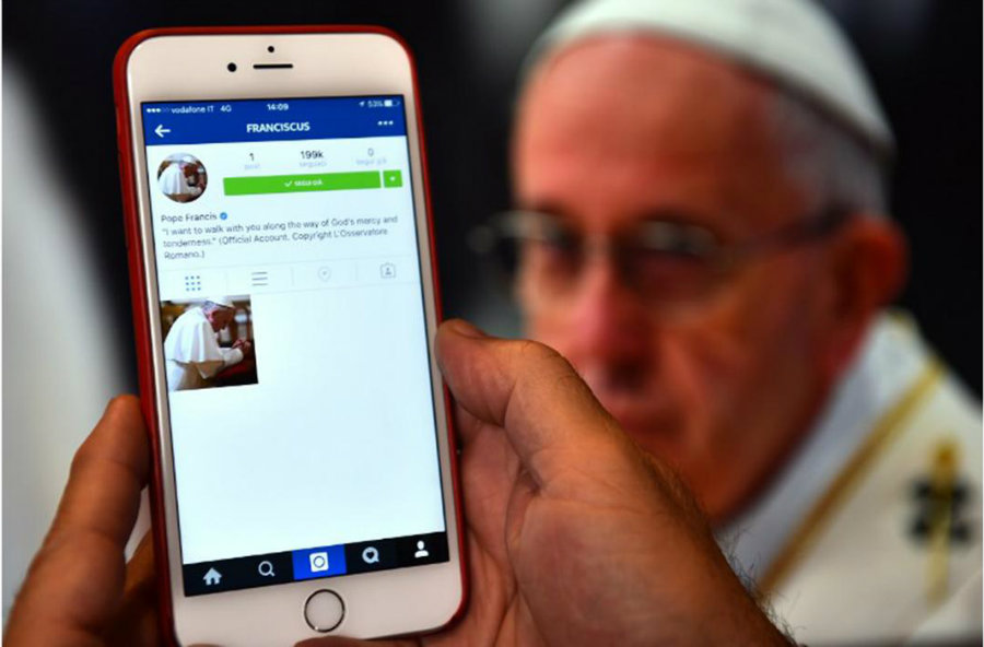 Pope Francis is now on Instagram.  Photo credit: The Daily Star
