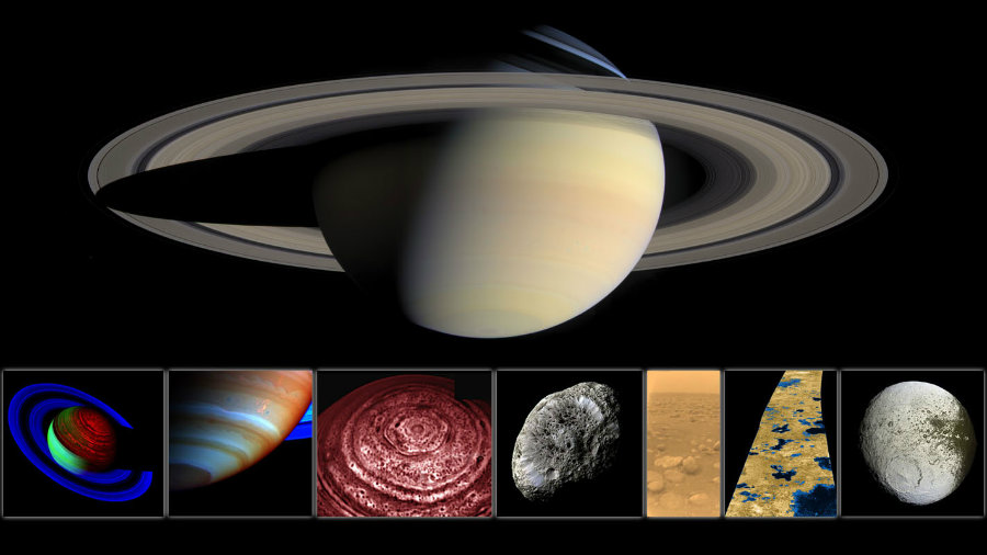 Montage of images of Saturn and some of its moons, taken by the Cassini spacecraft. Credit: NASA/ESA/JPL/Space Science Institute/Univ. of Arizona / NASA Jet Propulsion Laboratory