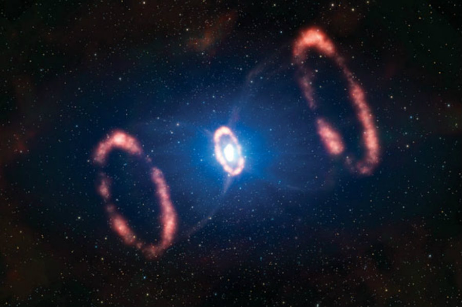 New 3-D simulations of Supernova 1987A show rings of material leaving the star at 62 million miles per hour. Credit: Symmetry Magazine