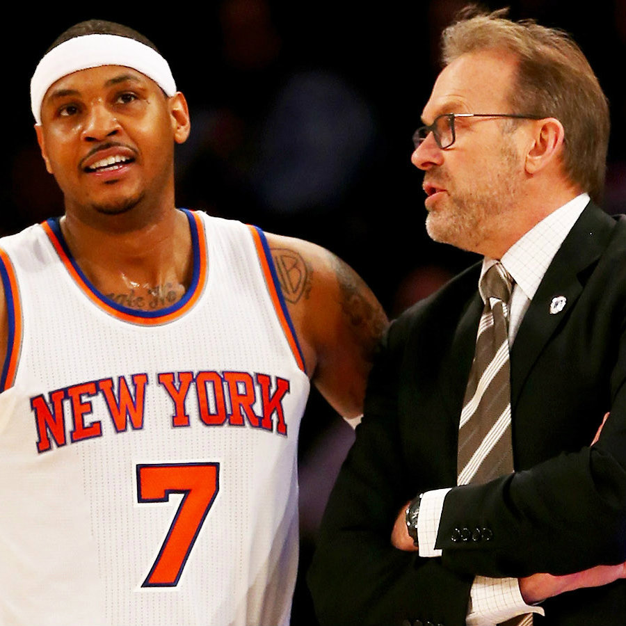 Carmelo Anthony alongside with Kurt Rambis