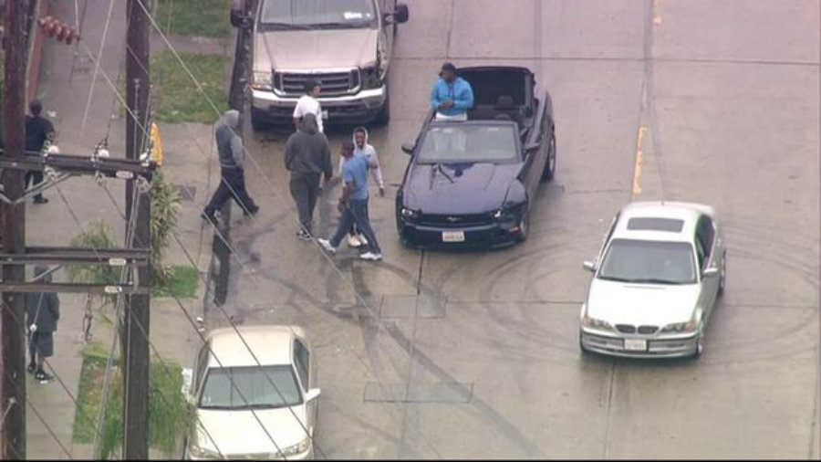 The suspects were driving a blue convertible Ford Mustang with the top down. Photo credit: ABC7
