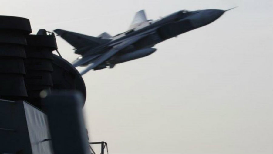 Two unarmed Russian warplanes made two extremely close flights to the U.S. guided missile destroyer on Tuesday in international waters. Photo credit: Fox News