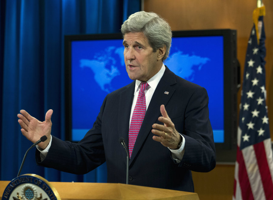 Secretary of State John Kerry presents the 2015 Country Reports on Human Rights Practices, Wednesday, April 13, 2016, at State Department in Washington. Credit: AP Photo / Jose Luis Magana / Wtop