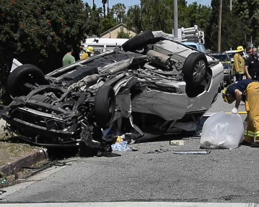 Los Angeles Fire Department responds to the incident happened on 8700 Haskell Avenue on Sunday afternoon where two vehicles collided leaving one person dead while eight other were rushed to the hospital due to severe injuries. Credit: ABC News
