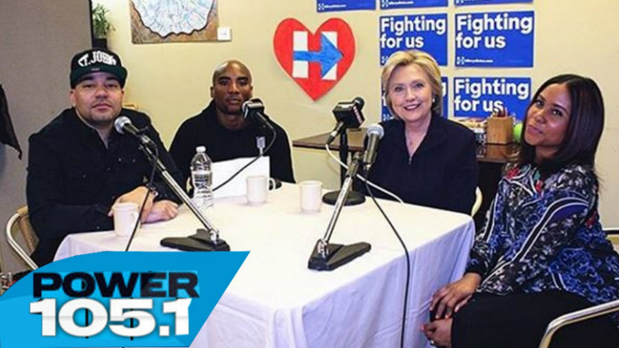"""Democratic presidential front-runner Hillary Clinton joined """"The Breakfast Club"""" on Monday. Photo credit: CTHAGOD - The Breakfast Club"""