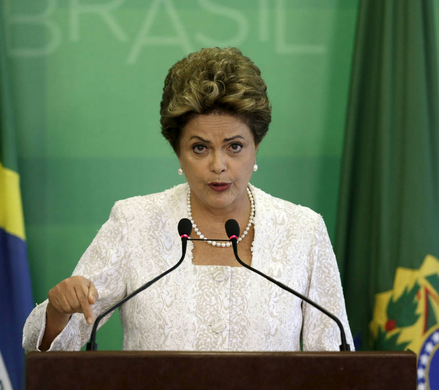 Brazilian President Dilma Rousseff speaks against his impeachment after the vote on Sunday. Credit: International Business Times