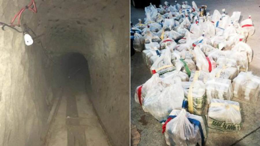 U.S. officers have found a drug trafficking tunnel that zig-zags it's way through the U.S. border ending in San Diego. Photo credit: Department of Justice / ABC 13