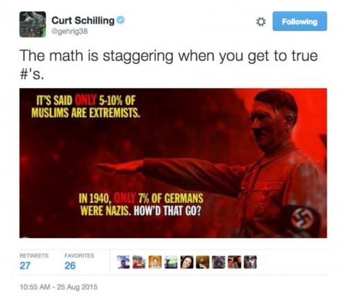 Curt Schilling Muslin Nazis tweet