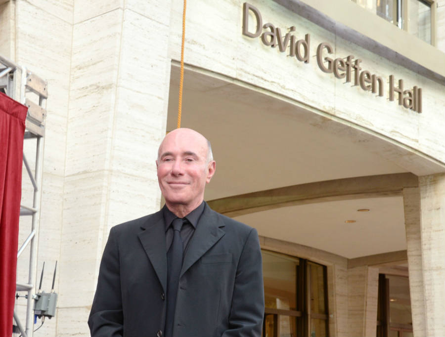 Renowned philanthropist David Geffen stands in front of the Hall named after him, as one of the many projects he has donated money to. The latest one being the donation of $100 million for the Museum of Modern Art in NYC. Photo: Courtesy of Patrick McMullan