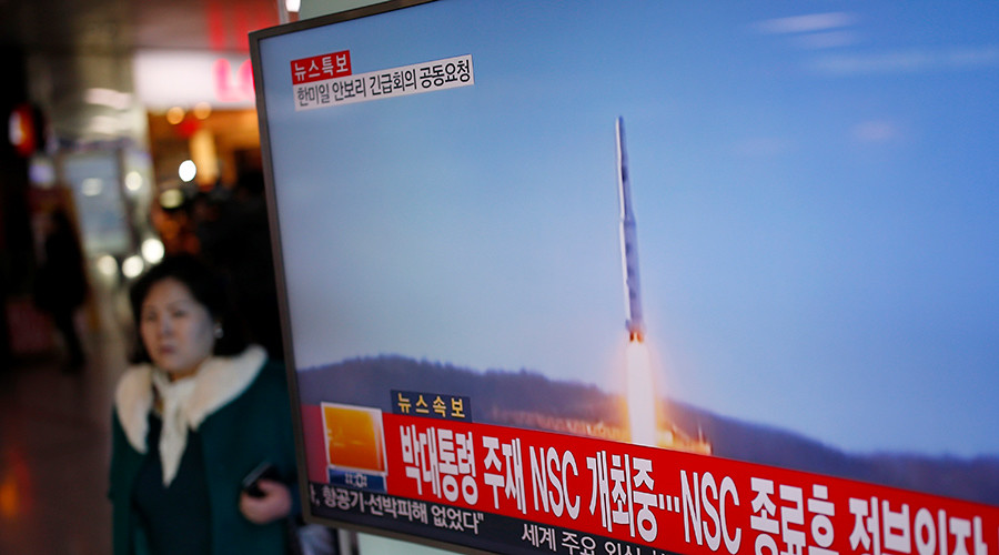 The rocket took off at around 12:30am GMT, according to the Joint Chiefs of Staff, which was tracking the flight path of the ballistic target, as reported by Reuters. Credit: RT