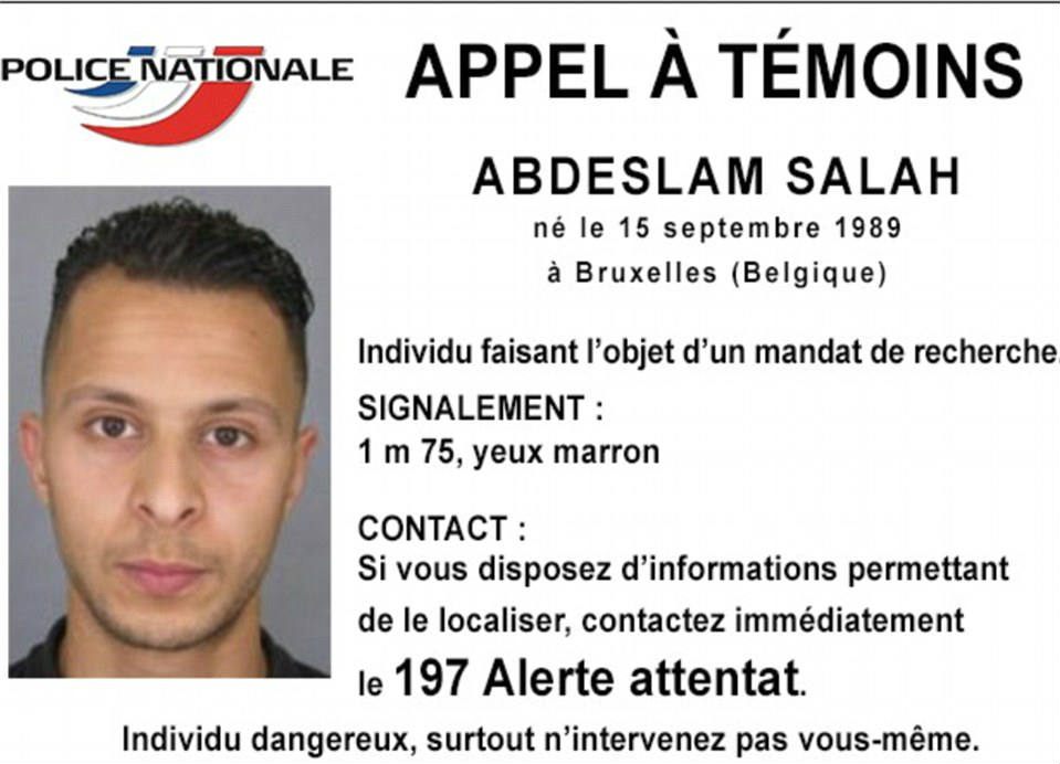 As seen above, the warning post for Abdeslam Salah, born on September 15 in 1989 in Brussels, Belgium. The suspect had managed to escape from authorities several times before he was finally captured, and recently extradited to France. Credit: Daily Mail