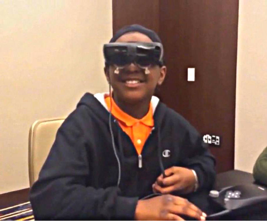 Chris Ward, 12, sees his mom thanks to eSight Digital Glasses