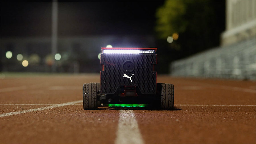 """BeatBot is """"a programmable, self-driving, line-following robot"""" that is able to reach blazing speeds. Photo credit: Puma / Engadget"""