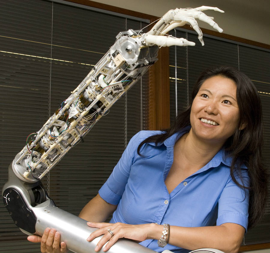 Yoky Matsuoka, former VP at Nest with a robotic arm