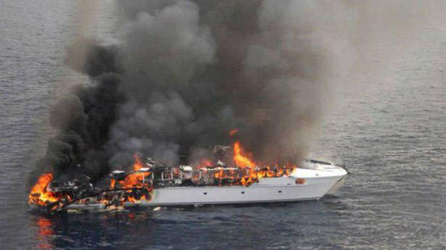 Australia Coast witnesses a boat on fire
