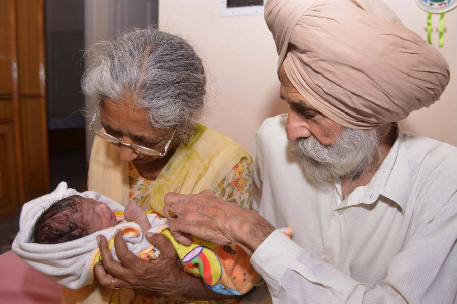 A 72-year-old Indian woman, Dalijinder Kaur, gave birth to her first child after two years of in vitro fertilization treatment. Photo credit: Narinder Nanu / AFP / Getty Images