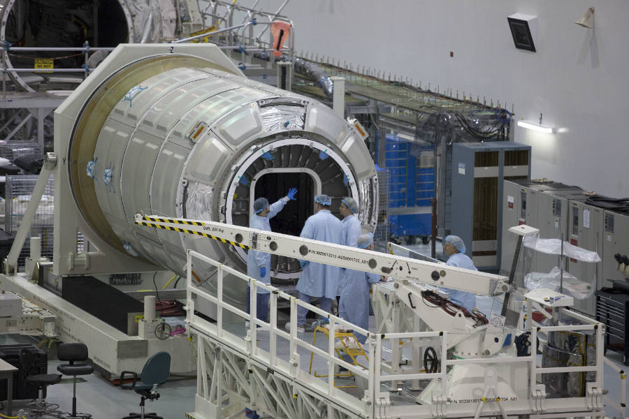 Inside the Payload Hazardous Servicing Facility at NASA's Kennedy Space Center in Florida, a Cygnus. Image Credit: NASA
