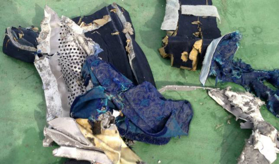 Recovered parts of a plane chair of the EgyptAir plane crash. Photo credit: Egyptian Military / Reuters