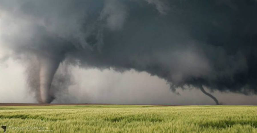 Twin tornadoes not only occurred once, but three times this evening in Kansas.