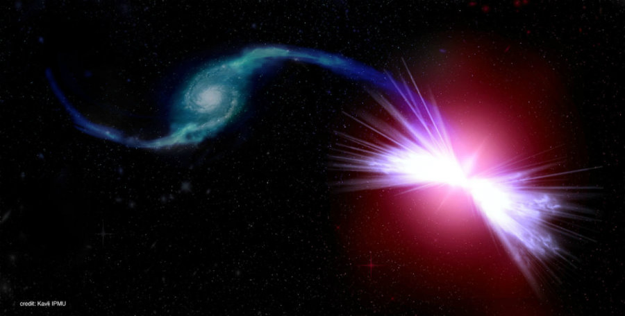 "A study conducted by astronomers from the Sloan Digital Sky Surveys might have found a new kind of galaxies which they named ""red geysers"". An artist's rendition of the galaxies Akira (right) and Tetsuo (left) in action. Image credit: Kavli IPMU / Science Daily"
