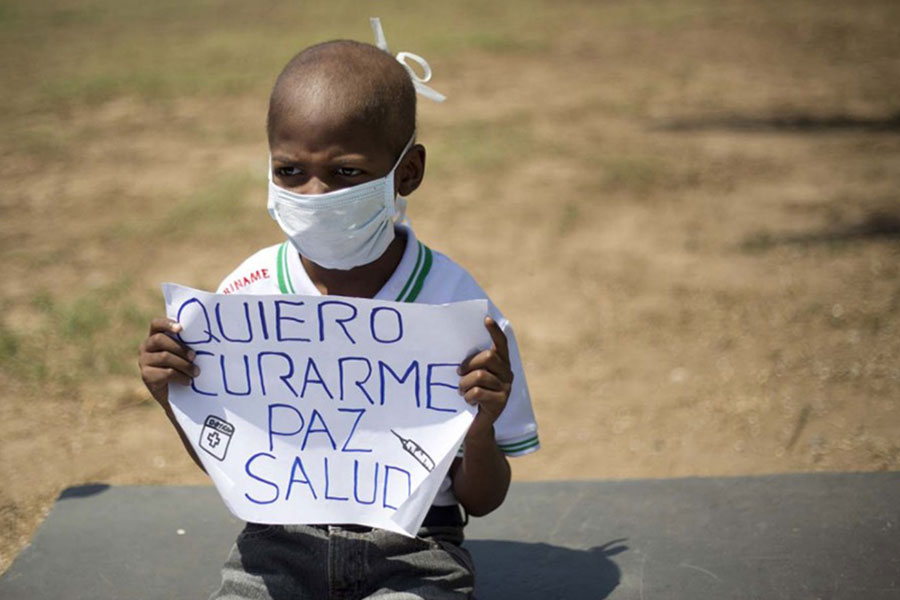 Oliver protests against President Nicolas Maduro
