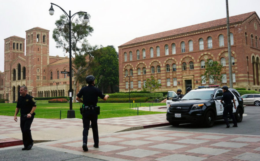 Two people were killed in a shooting on the UCLA campus Wednesday and officials put the campus on lockdown during the investigation. Photo credit: Christine Armario / Associated Press / The New York Times
